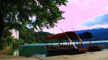 Boats on the lake Bled — Stock Video
