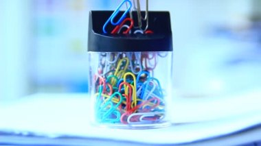 Taking paper clips — Stock Video