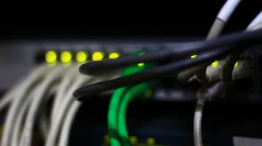 Cables on network server — Vídeo stock