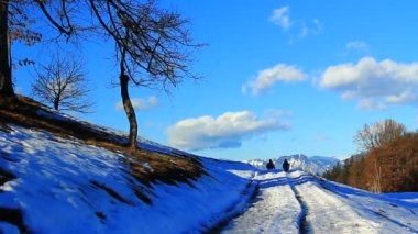 Winter landscape with people — Stok video