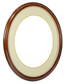 Wooden oval frame isolated background — Stock Photo