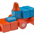 Toy car made from colored wooden blocks — Stock Photo #76535613