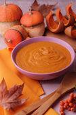 Autumn still life. Homemade Pumpkin  soup. — Stock Photo