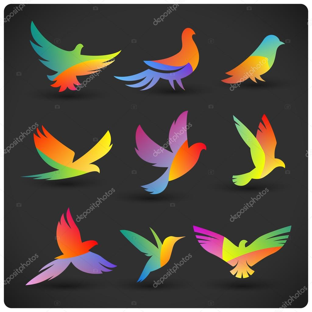 Stock Illustration Colorful Flying Birds