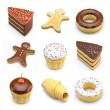 Food icons of cakes — Stock Photo #69607599