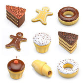 Food icons of cakes — Stock Photo