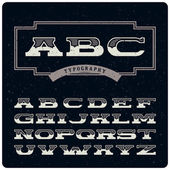 Wide retro alphabet — Stock Vector