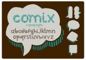 Font with comix bubble — Stock Vector
