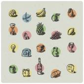 Fruit icons set — Stockvektor