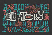 """Old story"" handmade font — Stock Vector"