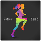 Running woman and motivating quote — Stock Vector