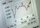 Close up of a positive financial stock exchange chart — Stock Photo