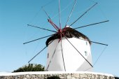 Windmill with blue sky in Mykonos — Fotografia Stock