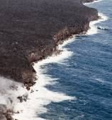 Kilauea lava enters the ocean, expanding coastline.  Kilauea Volcano, Hawaii. — Stock Photo