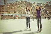 Image of group of teenagers on the ice — Stock Photo