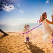 Background of bride ride on a swing — Stock Photo #74937575