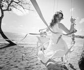 Background of bride ride on a swing — Stock Photo