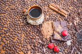 Holiday of chocolate day - wooden table background of coffee — Stock Photo