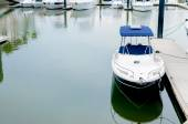 Small motorboat docking at a harbour — Stock Photo