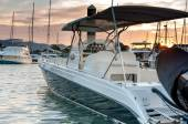 Small motorboat docking at the marina at sunset time — Stock Photo
