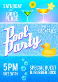 Pool party flyer template — Stock Vector