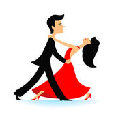 Couple dancing tango. — Stock Vector