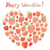 Watercolor strawberries heart. — Vetor de Stock