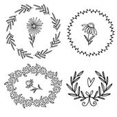 Set of floral wreaths — Stock Vector