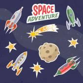 Retro Spaceship stickers. — Stock Vector