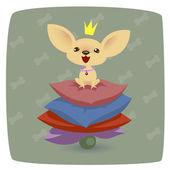Chihuahua princess on pillows — Stock Vector