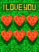 Pixel art Valentine card — Stock Vector