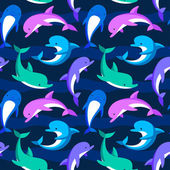 Playful blue dolphins — Stock vektor