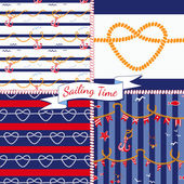 Patterns with nautical elements — Stock Vector