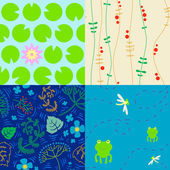 Seamless swamp theme patterns — Stock Vector