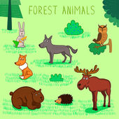 Vector collection of forest animals — Stock Vector