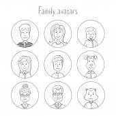 Family avatars collection — Stock Vector