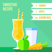 Carrot and apple smoothie recipe — Stock Vector