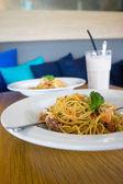 Pasta And Milkshake — Stock Photo
