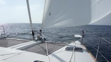 Sailing on catamaran — Stock Video