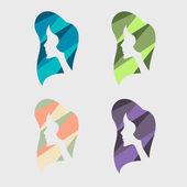 Girl segmented colored silhouette — Stockvektor