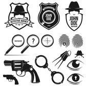 Private detective set — Stock Vector