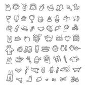 Big set of handwritten icons of childhood things — Stock Vector