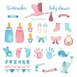 Watercolor baby shower set of design elements. — Stock Photo #77398648