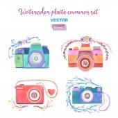 Watercolor vector photo cameras set. — Stock Vector