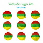 Watercolor vector reggae style dots. — Stock Vector