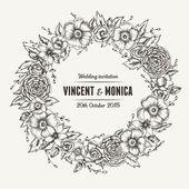 Vector vintage floral wedding invitation. — Stock Vector