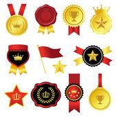 Gold and red emblem set — Vector de stock