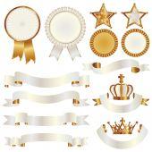 Set of ribbon and emblem — Stock Vector