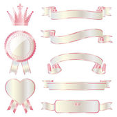 Ribbon emblem set pink and white — Stock Vector