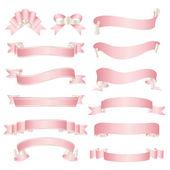 Satz von pink ribbon — Stockvektor